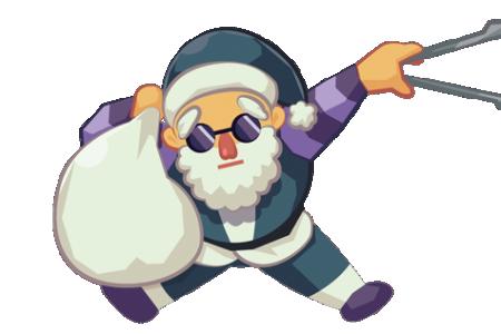 <h2>サンタブラック</h2><p>プレゼントと思ったら大間違い。サンタブラックの袋の中はゴミの山。世界中を回りながら落ちているゴミを拾っているんだ。普通のサンタが働くのは1年で1日だけど、サンタブラックが働くのは1年で365日。毎日ゴミは絶えないからね…君の町がきれいなのもサンタブラックのおかげ。でも1人じゃ大変!落ちているゴミを見つけたらちゃんとゴミ箱に捨てよう。</p>